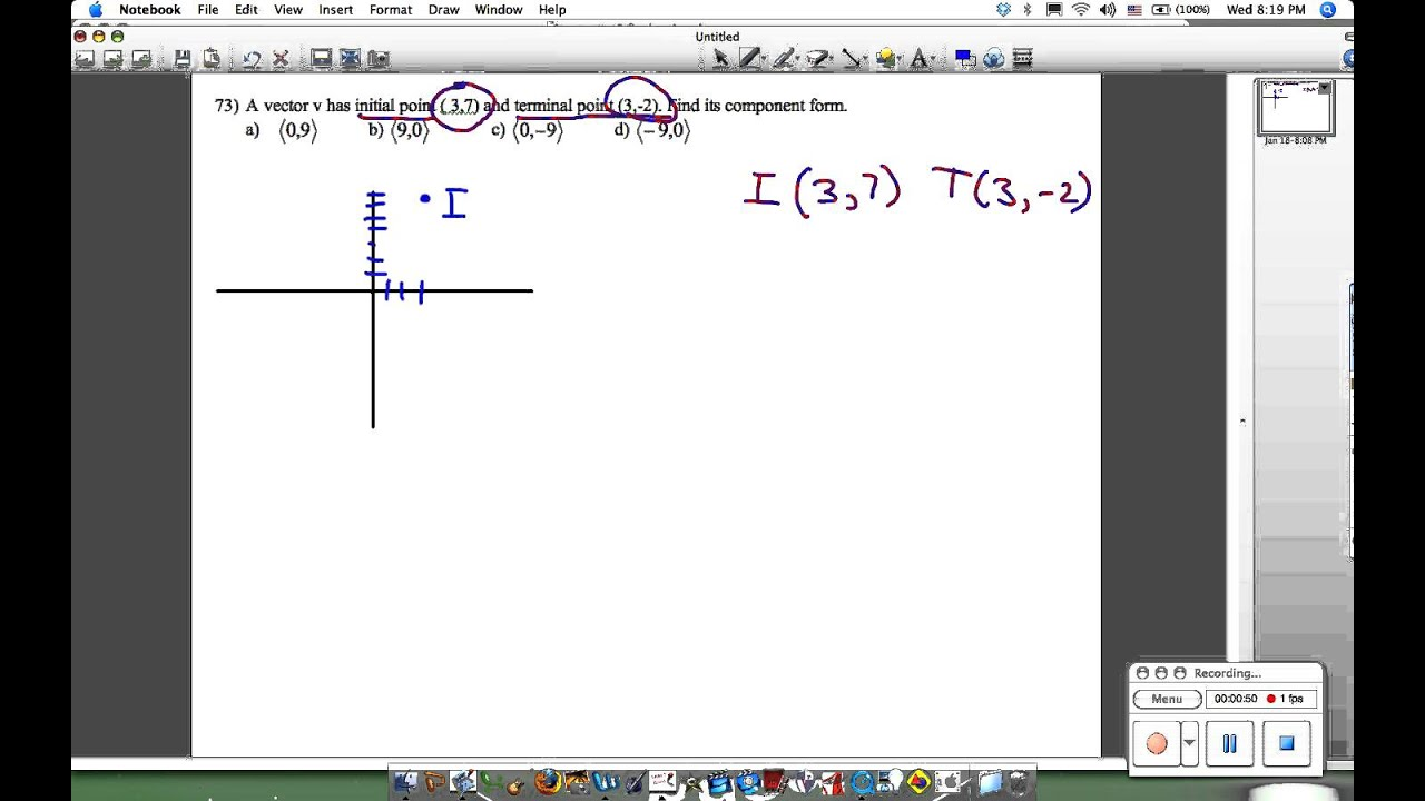 q73b Find the component form given initial point and terminal ...
