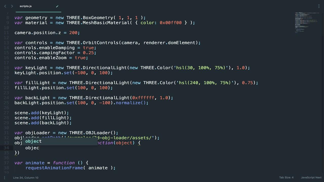 Load a 3D Model Using the Three js OBJ Loader