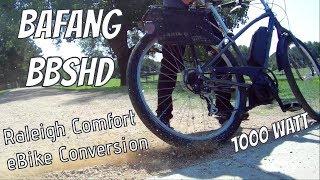 eBike Life; Bafang BBSHD 1000w mid-drive motor 48v 40mph Raleigh comfort commuter e-bike conversion
