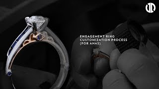 Engagement Ring Customization Process of an Octagon Diamond with Blue Sapphires