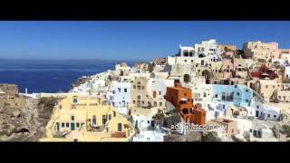 Drone  Flying very low over Oia / Santorini, Cycled Islands of Greece