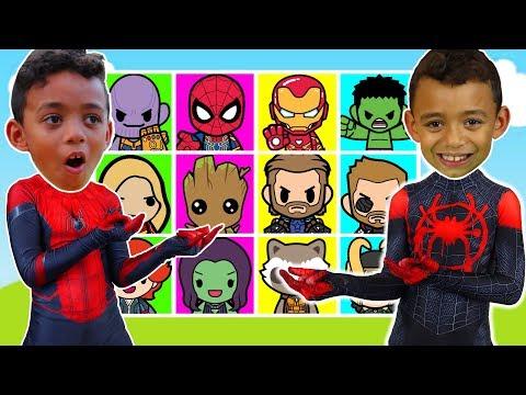 Giant Superhero Smash Game with Spiderman & Marvel Avengers Superhero toys - Anwar and Leah - 동영상
