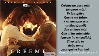 creeme - maluma ft karol g - Letra de Cancion