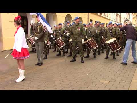 The Conscript Band of Finnish Defence Forces marcing to the gig at Kromeriz, CZ, September 3. 2017
