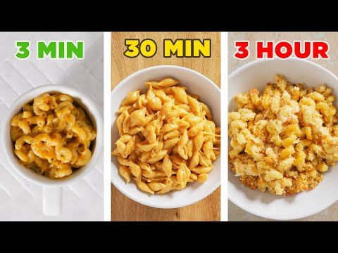 3-Minute Vs. 30-Minute Vs. 3-Hour Mac N' Cheese • Tasty