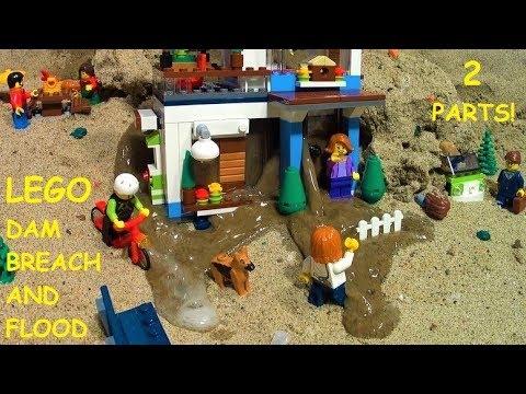 DAM BREACH THROUGH LEGO HOUSE - TWO PARTS OF FLOODS!