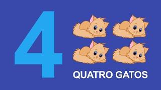 Ensinando os números em português para crianças - Numero quatro
