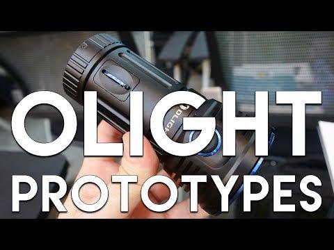Olight Prototypes - 12000 Lumen X7R + M2R, HS2, PL Mini Flashlights