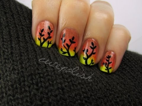 Autumn Ombre Nail Art Youtube