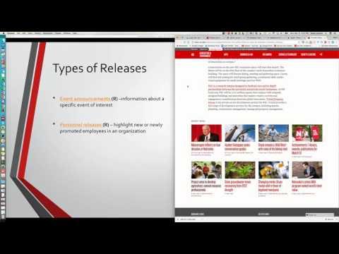 tWeek 10 2 types of news releases