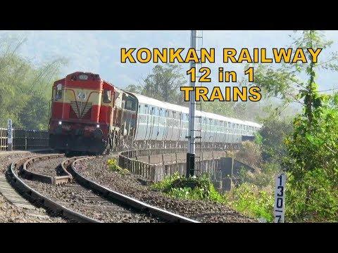 STUNNING TRAINS [12 in 1] KONKAN RAILWAY : ERS - LTT Duronto + MAO Double Decker + Many more