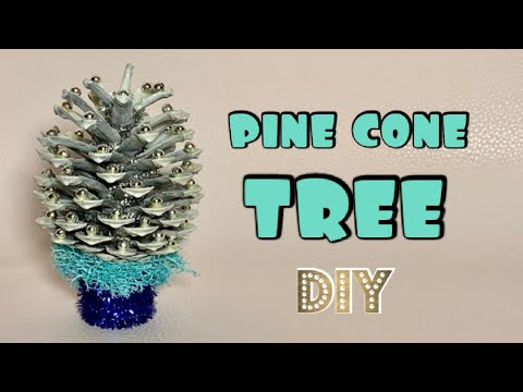 how-to-make-christmas-tree-from-pine-cone- -diy-  -kiwi-craft