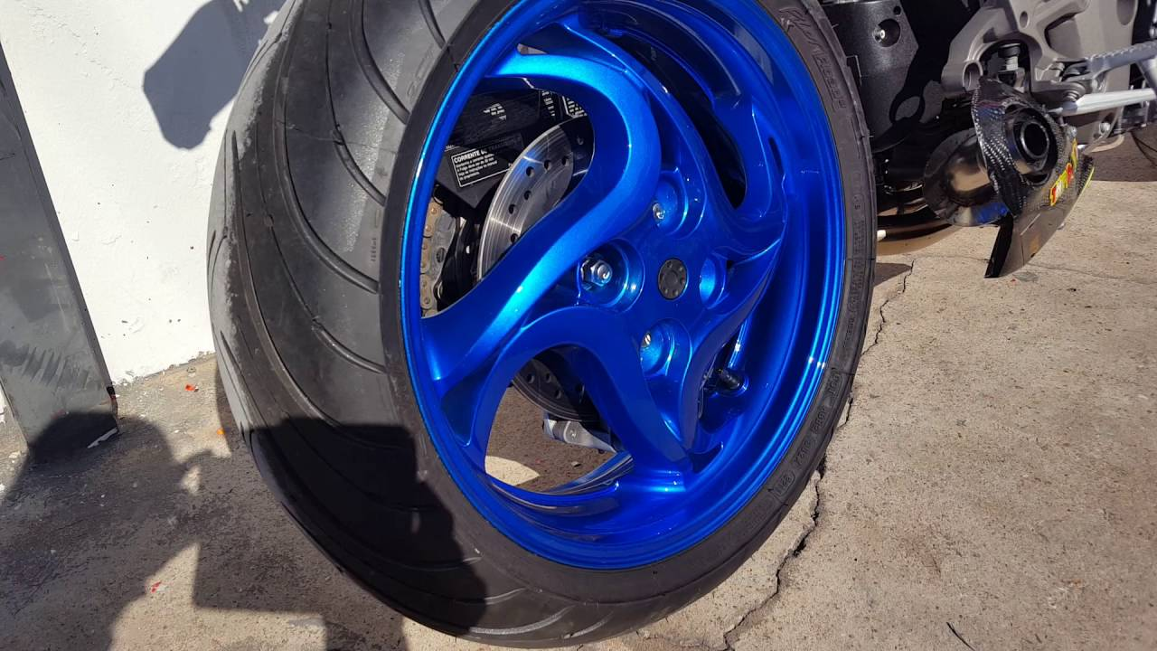 Car Wrap Cost >> CB1000R PAINT WHEELS CANDY BLUE - YouTube