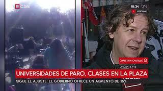 Universidades de paro, clases en Plaza de Mayo