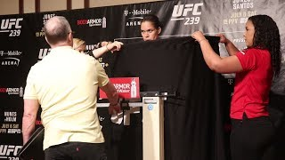 Amanda Nunes needs the curtain on return to 135-pounds | UFC 239 Official Weigh-Ins
