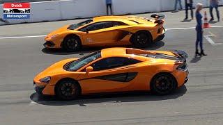 mcLaren 570S vs Lamborghini Aventador SVJ vs Turbo S vs M5 - Drag Race!