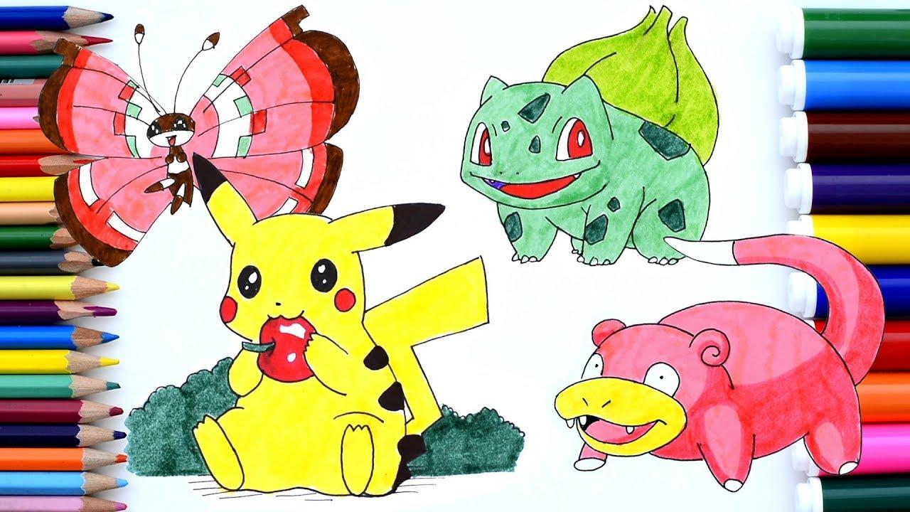 pokemon pikachu coloring pages pichu slowpoke bulbasaur vivillon