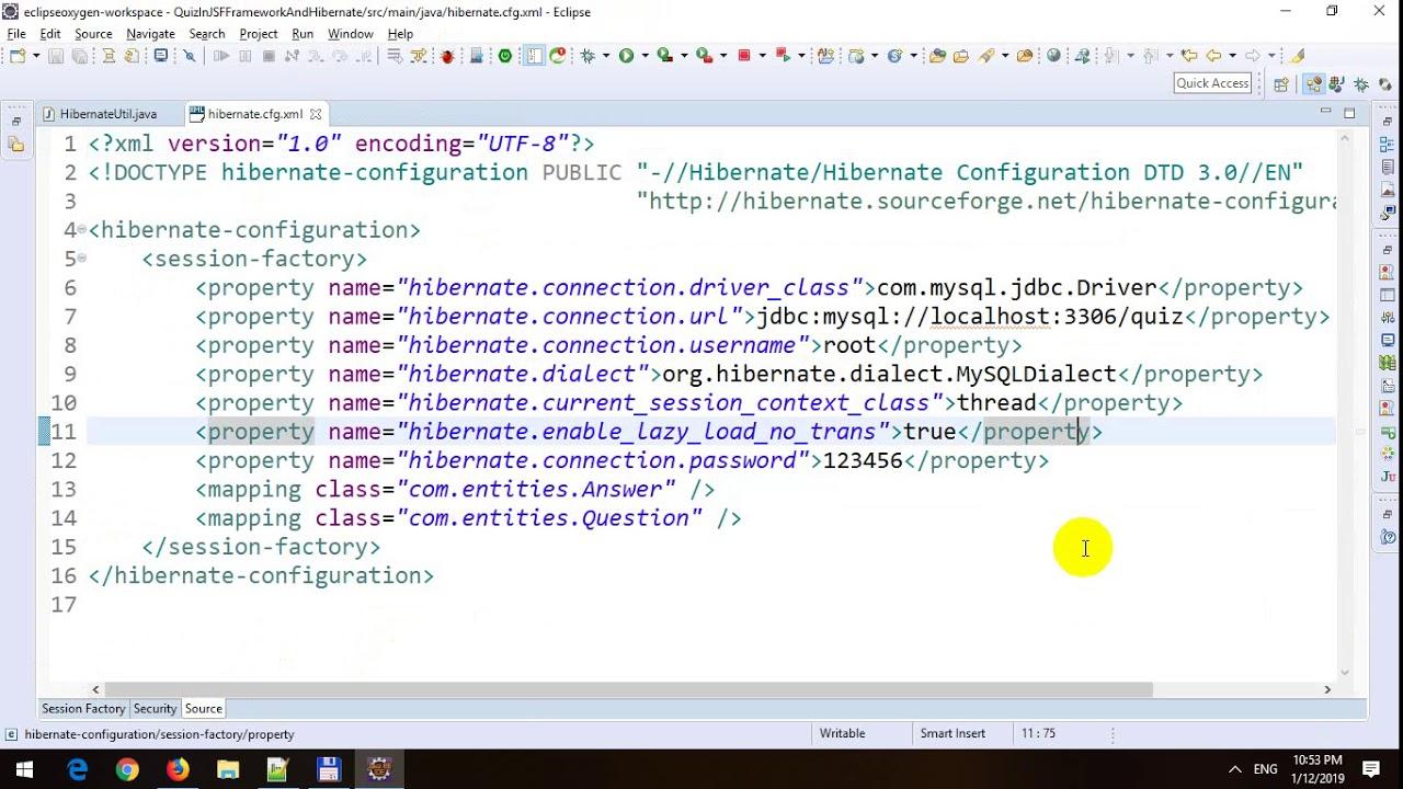 Creating Online Quiz Application using JSF Framework and Hibernate