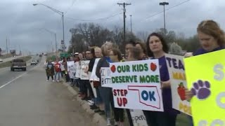 Teachers rally in in Oklahoma, Kentucky for higher pay and education funds