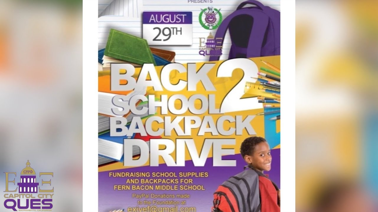 Omega Psi Phi, Epsilon Xi Chapter Back Pack Drive