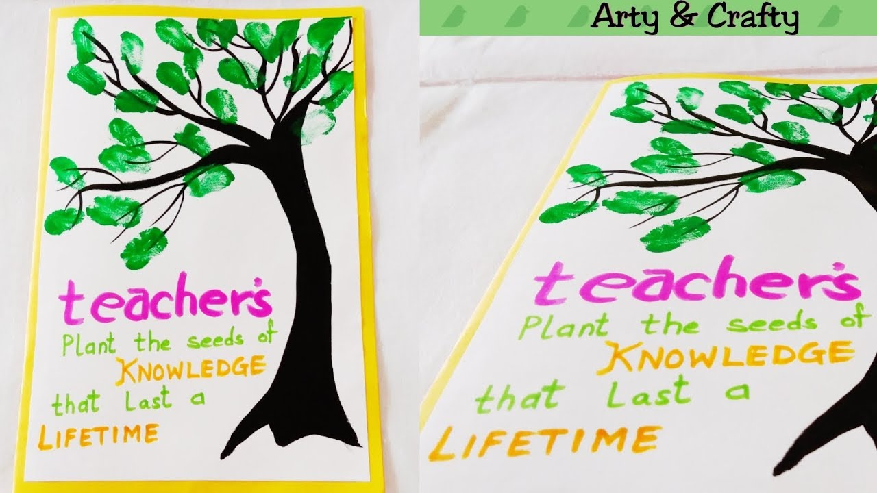 easy  quick teachers day card thumb painting card