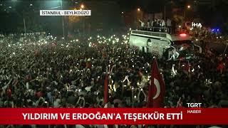 İmamoğlu, Cumhurbaşkanı Erdoğan ve Yıldırım'a Teşekkür Etti