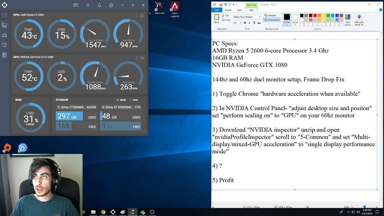 144hz 60hz Dual Monitor Setup, Frame Drop FIX