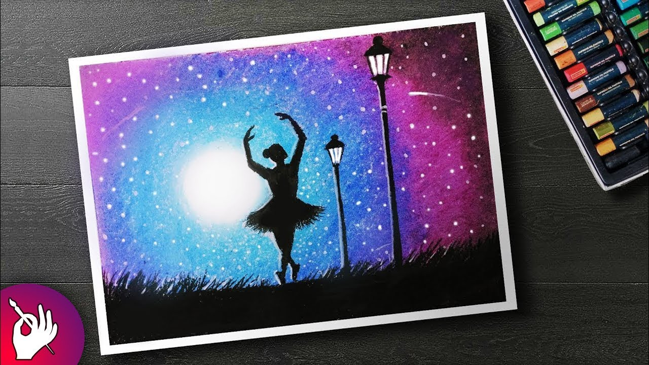 480a8f95d80d How to DRAW Moonlight girl dance Scenery with Oil Pastel step by ...