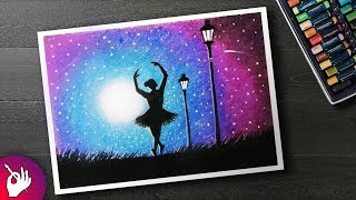 How to DRAW Moonlight girl dance Scenery with Oil Pastel step by step