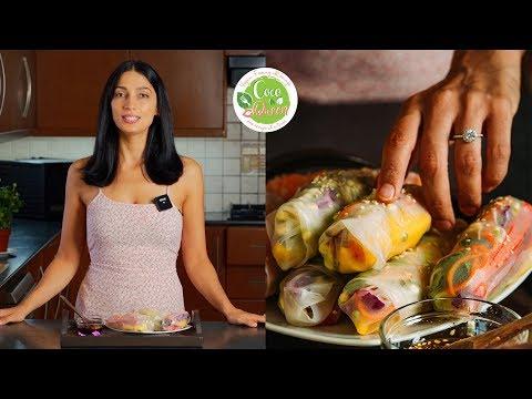 Vegan Rice Paper Summer Rolls Recipe & Dipping Sauce! (From Scratch)