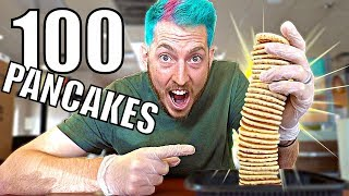 WE ORDERED 100 STACK OF PANCAKES!