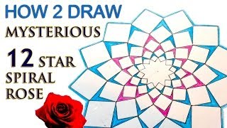 How 2 Draw Mandala - The 12 Star Spiral Rose - Sacred Geometry Tutorial
