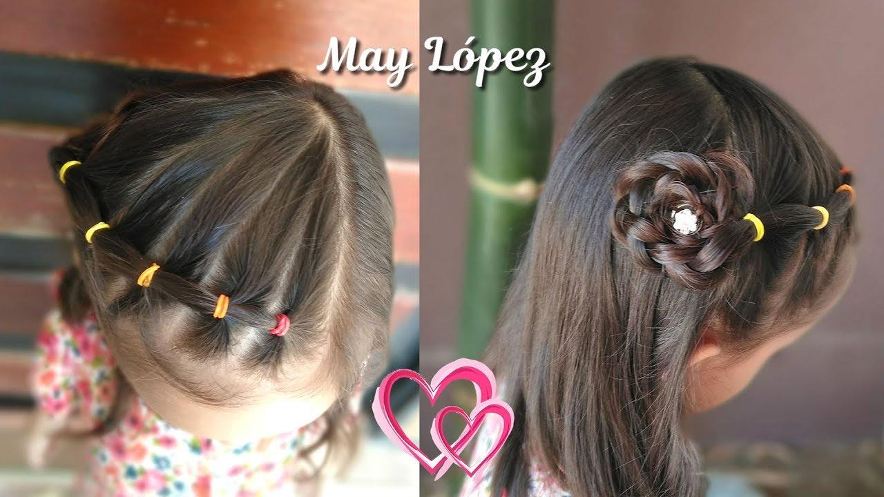 Peinado Para Ninas En 3 Minutos Con Ligas Y Flor Peinados Faciles