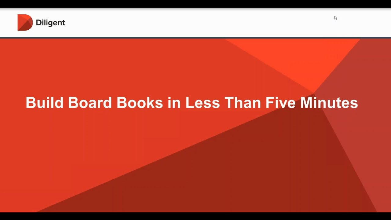 build board meeting books in less than five minutes youtube