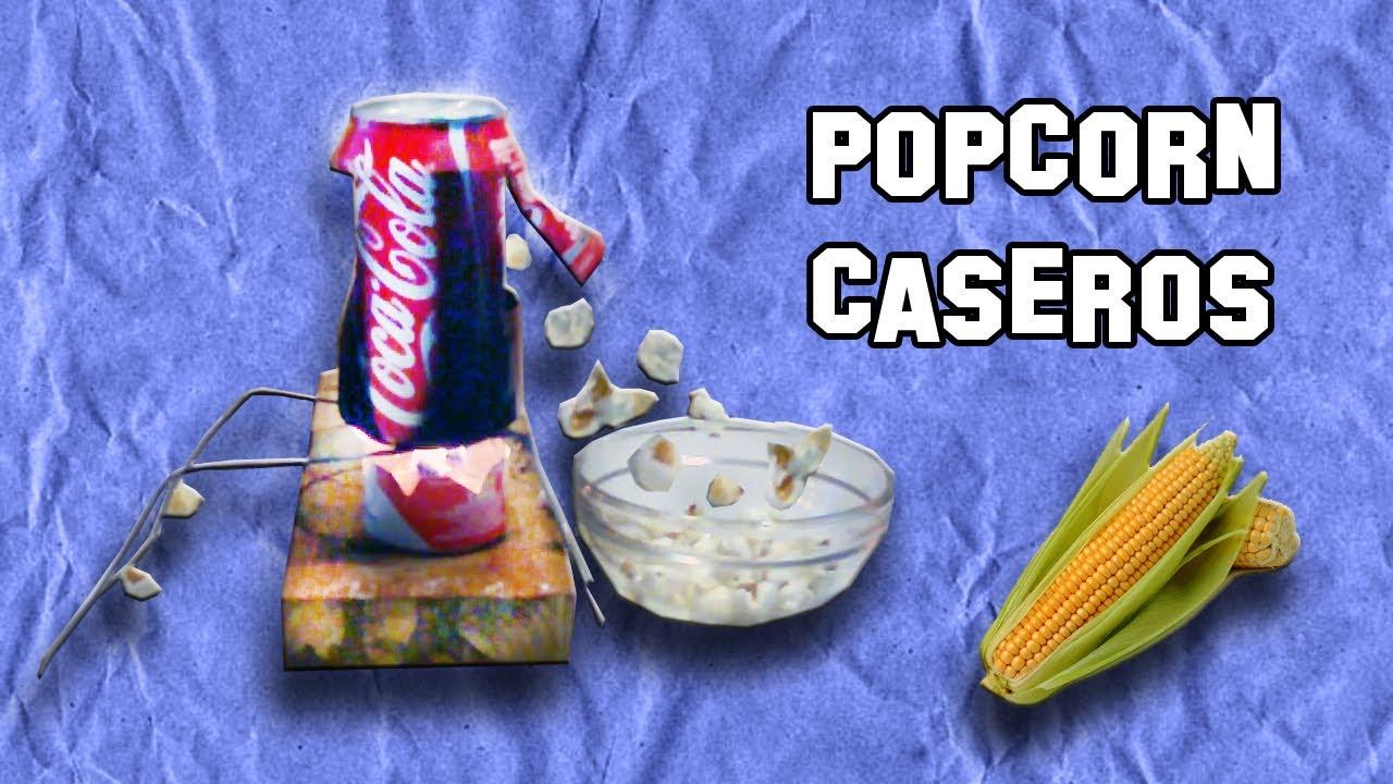 Popcorn con lata de refresco experimentos caseros - Como hacer palomitas de caramelo caseras ...