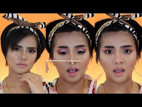 Asian Makeup Transformation Challenge | fake nose + V line with scotch tape