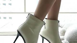 Punk Women Ankle Boots Zipper Rivets High Heels Autumn Winter