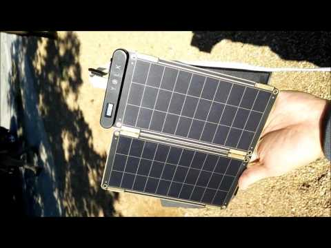 Yolk SolarPaper solar panel USB charger In use