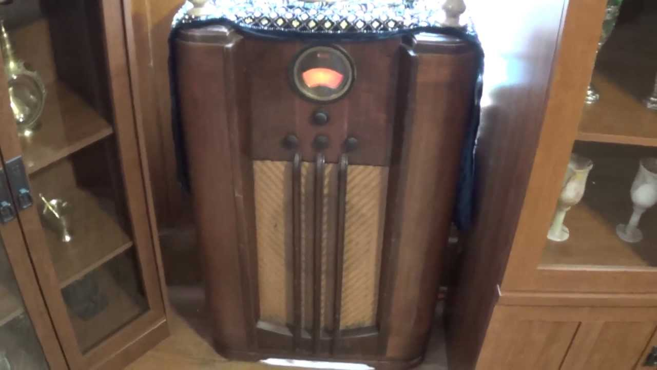 1938 Philco Model 385 Floor Model Radio Working  YouTube