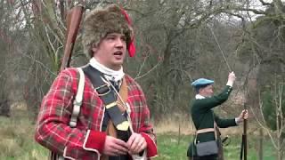 Alan Brecks Regiment 1745 re-enactment group skirmish at Castle Fraser in Scotland April 2019