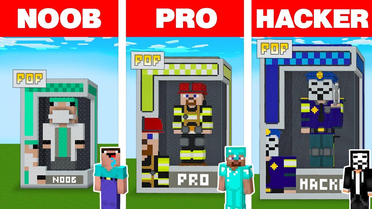 Minecraft NOOB vs PRO vs HACKER: EMERGENCY POP STATUE HOUSE BUILD CHALLENGE in Minecraft Animation