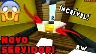 😱NOVO SERVIDOR GRINGO DE BEDWARS! MUITO TOP MCPE 15.10