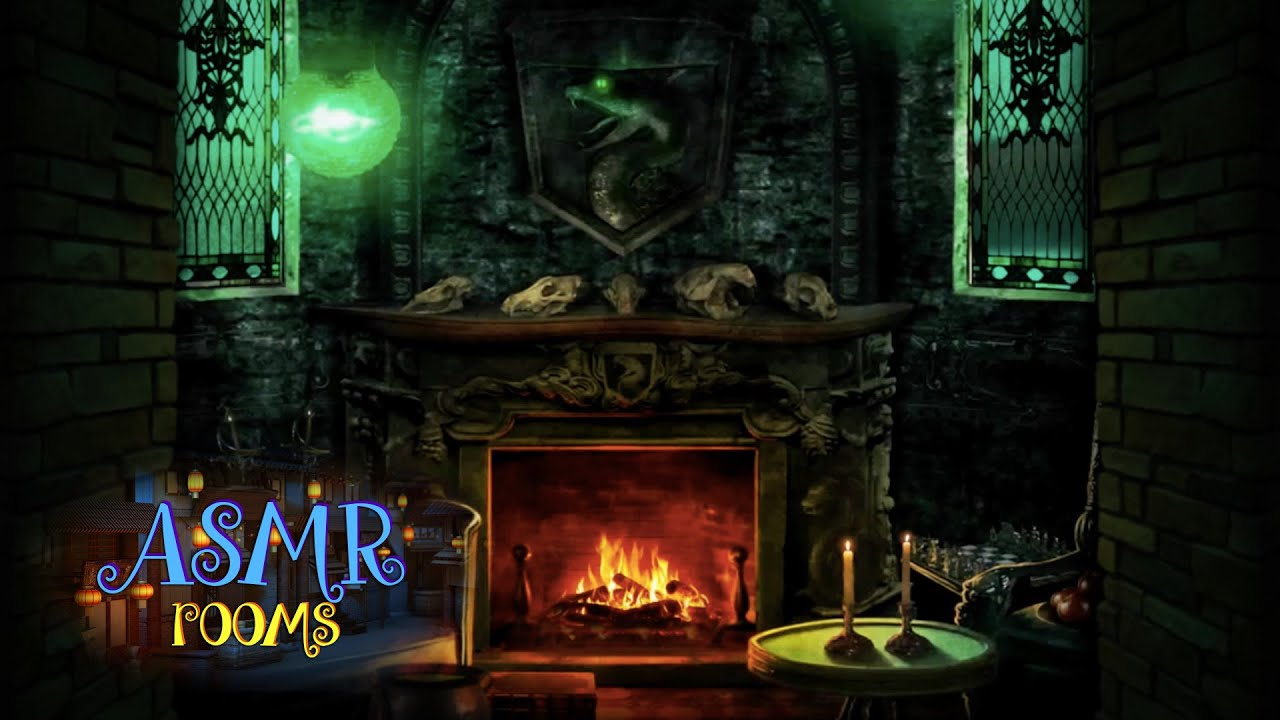 Harry Potter Inspired ASMR - Slytherin Common Room - POV HD Ambient Soundscape and Animation