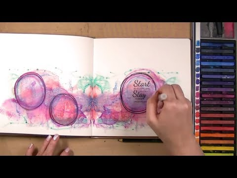 Art Journal Technique: Page Smooshing with Inktense Blocks | Mixed Media Art Journal With Me