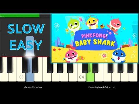 Pinkfong - Baby Shark Song - Slow Easy Piano Tutorial - Monkey Banana