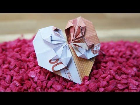 Geldscheine Falten HERZ ❤️ Origami GELDGESCHENK Zur Hochzeit