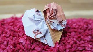 Geldschein falten Herz ❤️ Geldgeschenk zur Hochzeit, DIY Origami Tutorial Deutsch #TrauDirWasZu