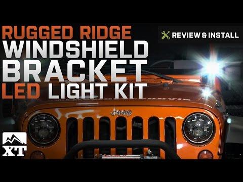 Jeep Wrangler Rugged Ridge Windshield Bracket LED Light Kit (2007-2017 JK) Review & Install