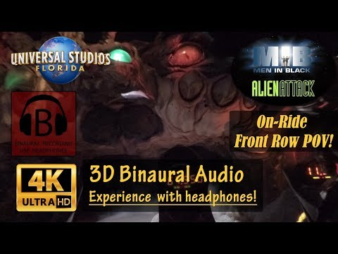 [4K, 3D Audio] NEW Men In Black Alien Attack 4K On-Ride POV Binaural 3D Audio Best Version - Orlando