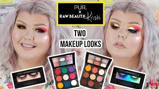 TESTING RawBeautyKristi X Pur Cosmetics Palette + Lashes Collab ? 2 Makeup Looks